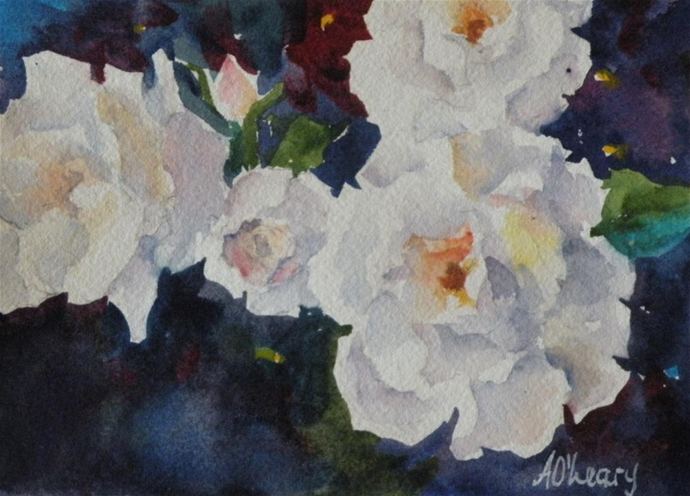 """White Roses"" original fine art by Alice O'Leary"