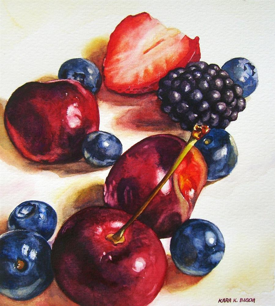 """Berries and Cherries II"" original fine art by Kara K. Bigda"
