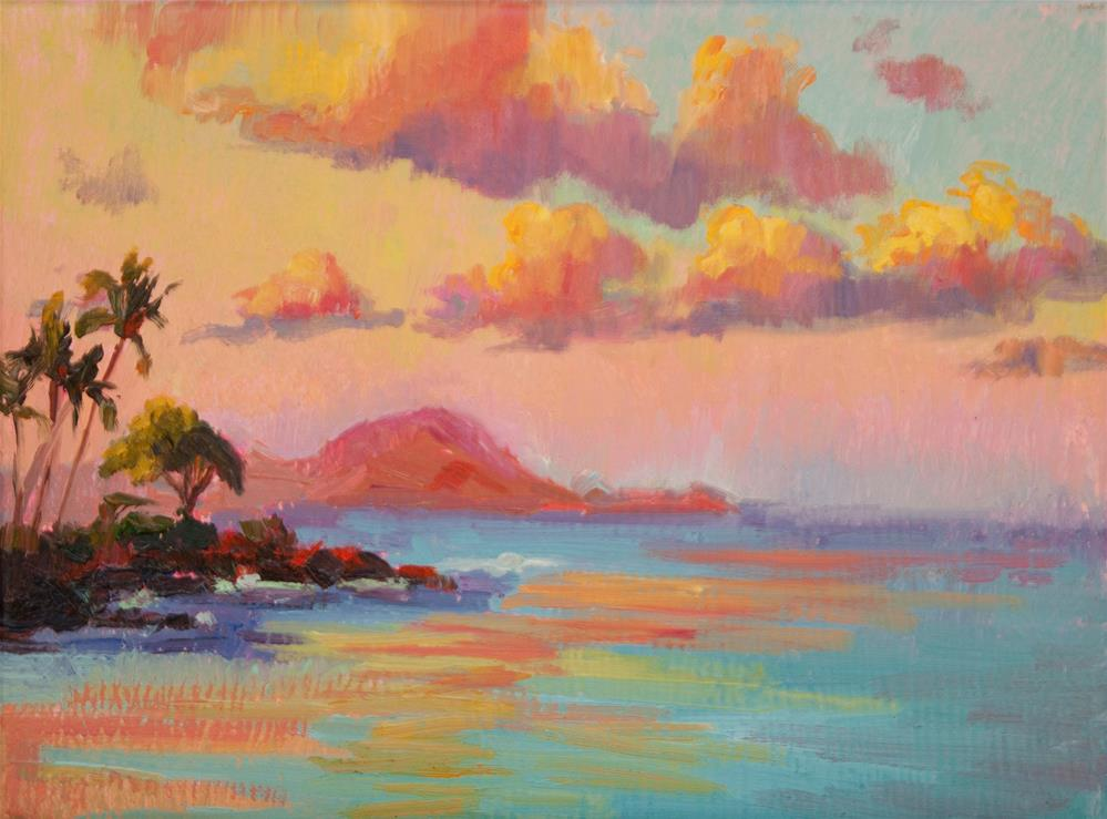 """HAWAII SUNRISE DISTANT ISLAND"" original fine art by Karen E Lewis"
