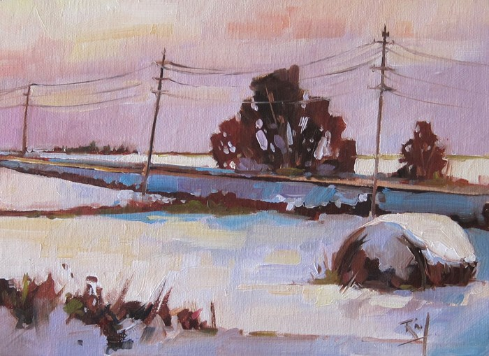 """No 806  Evening Light"" original fine art by Robin J Mitchell"