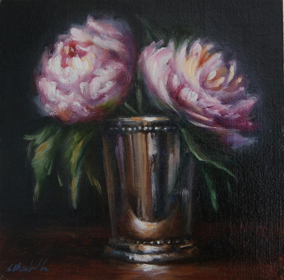 """Mint Julep Cup with Peonies"" original fine art by Carolina Elizabeth"