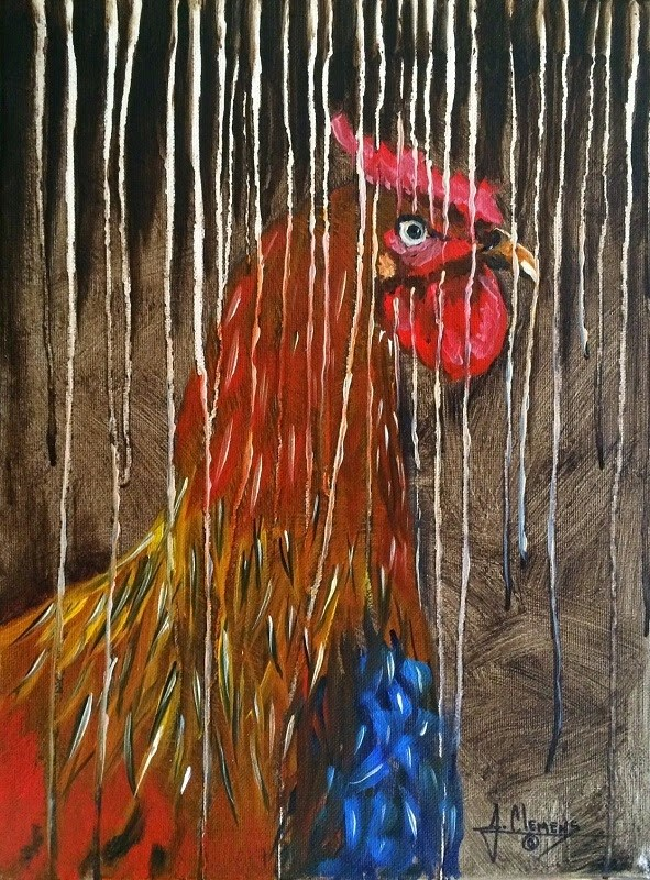 """Spring Chicken"" original fine art by Jolynn Clemens"
