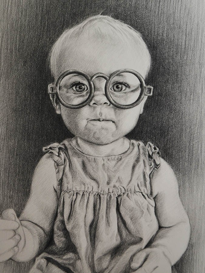 """Miss Smarty Pants"" original fine art by April Dawes"