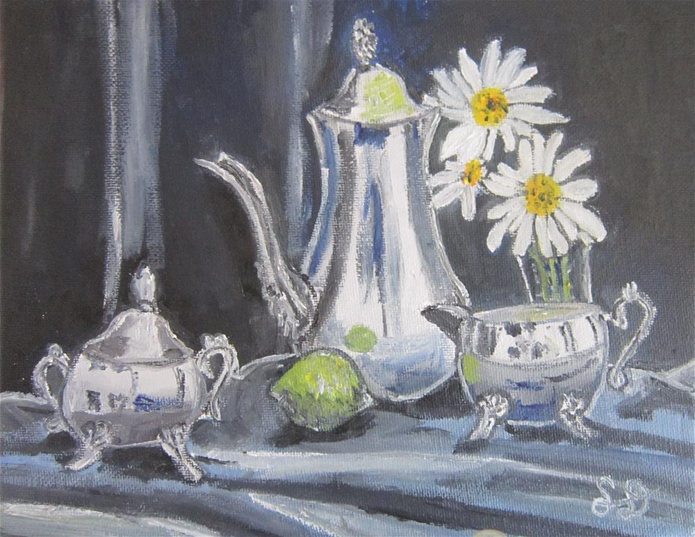 """""""Silve Teapot and Lime with Flowers"""" original fine art by Samara Doumnande"""