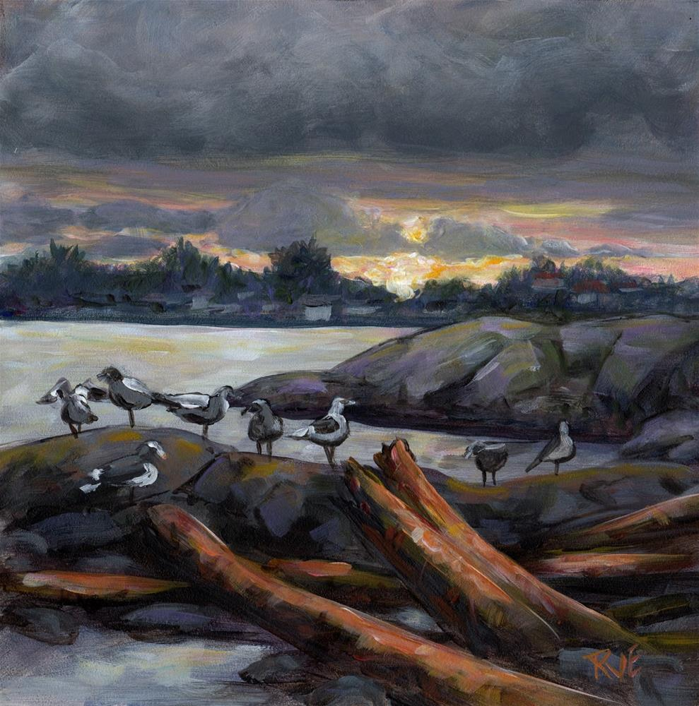 """#96  Cattle Point gulls"" original fine art by Ruth Van Egmond"