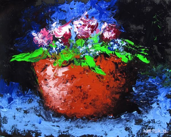 """Mark Webster - Palette Knife Flowers Still Life Oil Painting"" original fine art by Mark Webster"