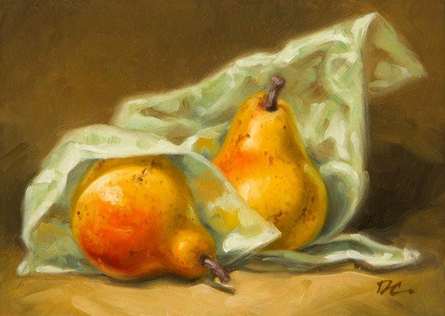 """Forelle Pears And Tissue Paper"" original fine art by David Capalungan"