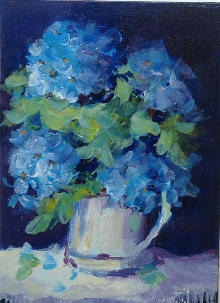 """Original hydrangea blue flower floral still life home decor"" original fine art by Alice Harpel"