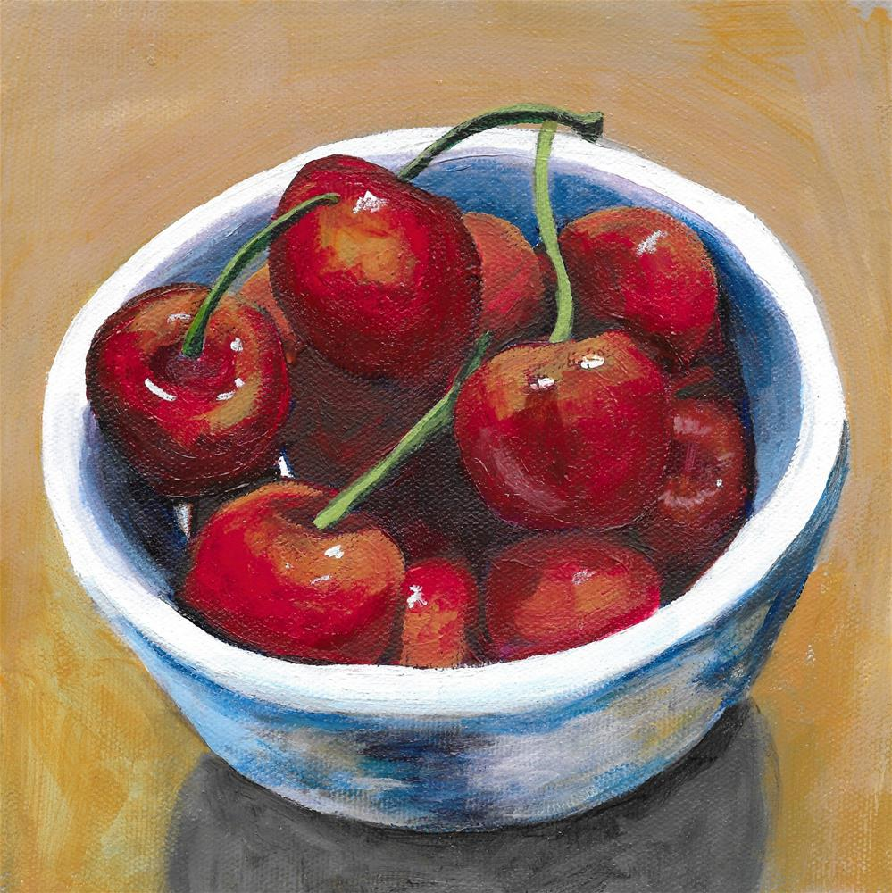 """Bowl of Cherries"" original fine art by Lisa Wiertel"