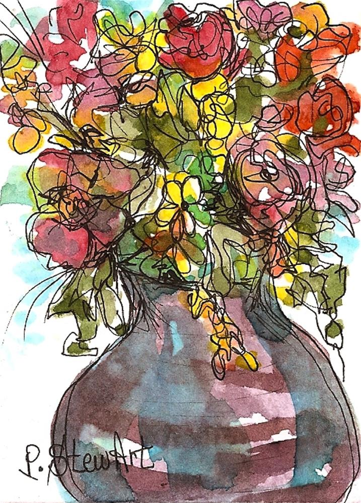 """ACEO Ceramic Pot of colorful flowers, Original art WC & pen by Penny StewArt"" original fine art by Penny Lee StewArt"