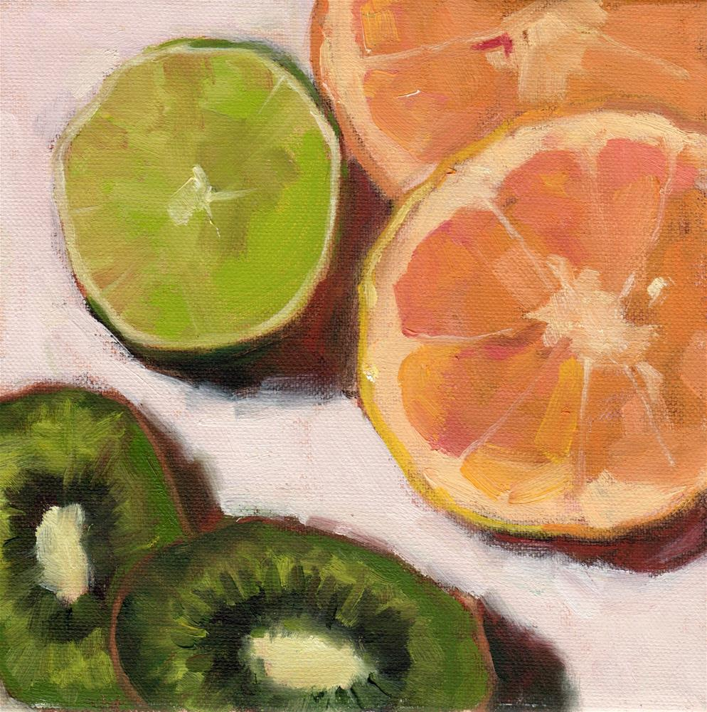 """Orange, Lime & Kiwi"" original fine art by Marlene Lee"