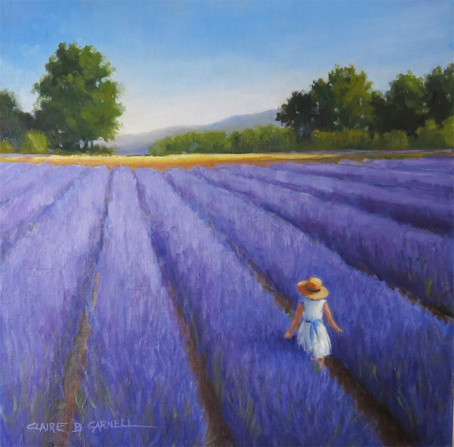 """SOLD 'Walking through the Lavender' An Original Oil Painting by Claire Beadon Carnell"" original fine art by Claire Beadon Carnell"