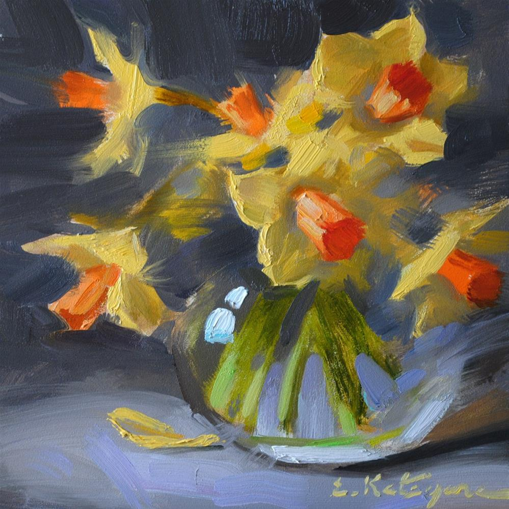 """Daffodils on Gray"" original fine art by Elena Katsyura"