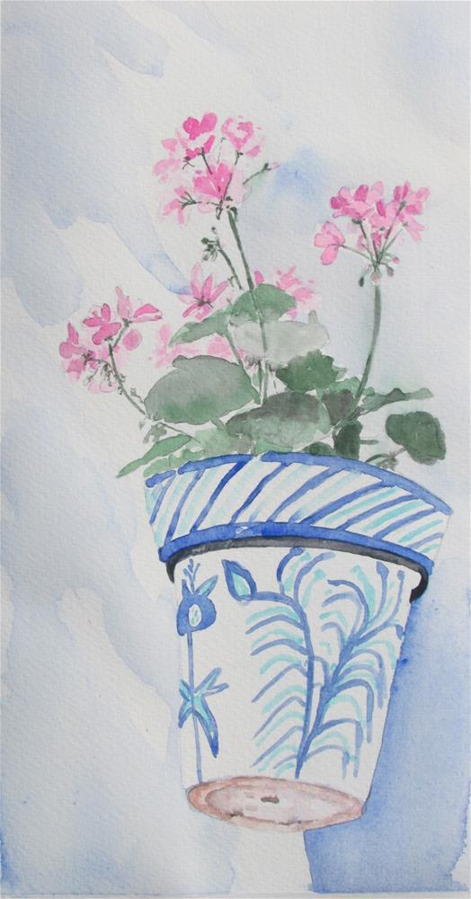 """Granada geranium"" original fine art by Yolanda Moreno"