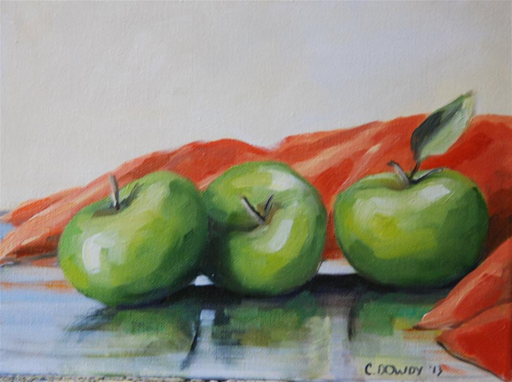 """Green Apples with Coral Cloth"" original fine art by Christina Dowdy"