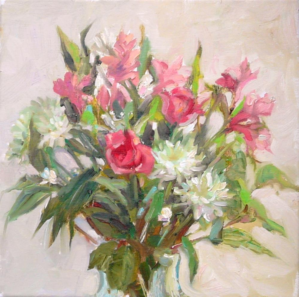 """Bouquet in January,still life,oil oncanvas,12x12,price$350"" original fine art by Joy Olney"