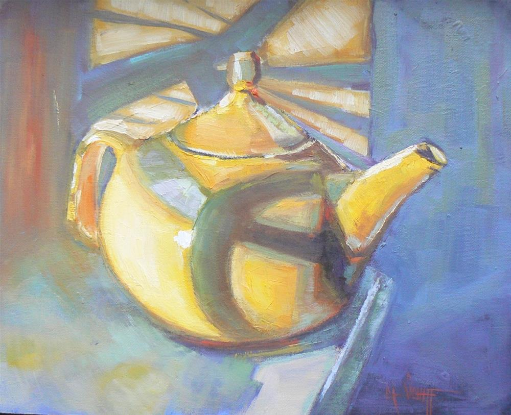 """""""Daily Painting, Small Oil Painting, Painting On Sale, Teapot Painting Yellow teapot with palm shado"""" original fine art by Carol Schiff"""