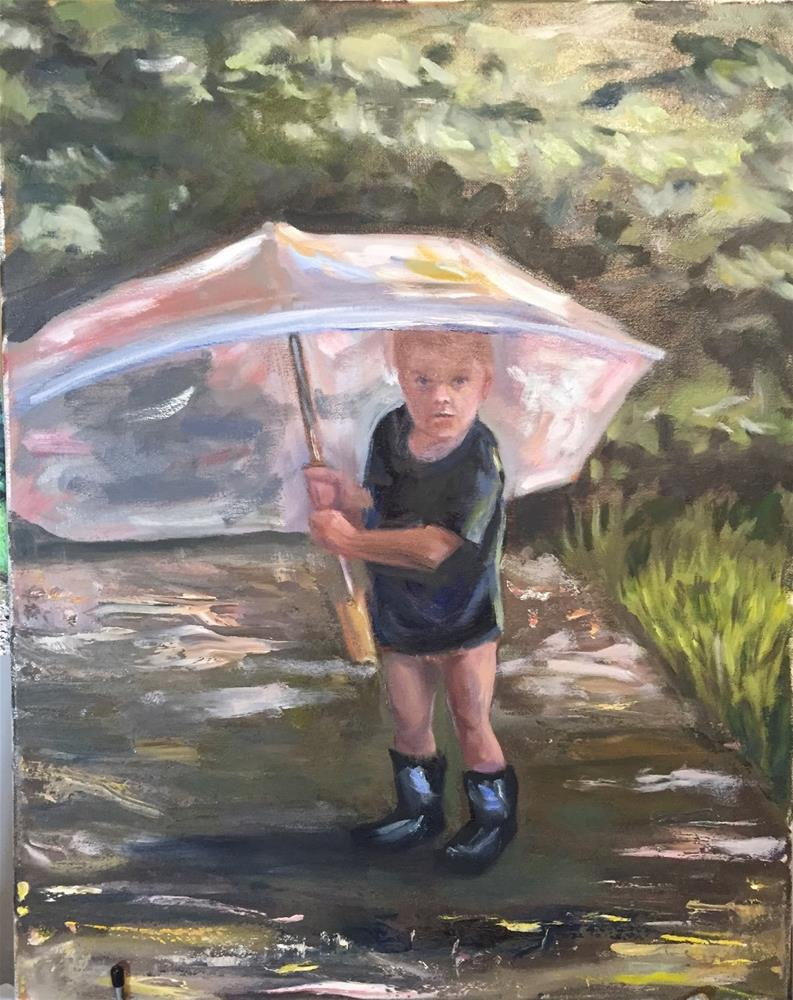 """Brock Holding Umbrella"" original fine art by Rick Blankenship"