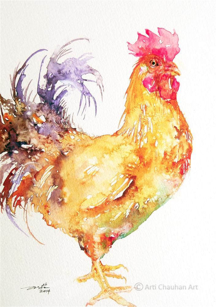 """Purple Tail Rooster"" original fine art by Arti Chauhan"