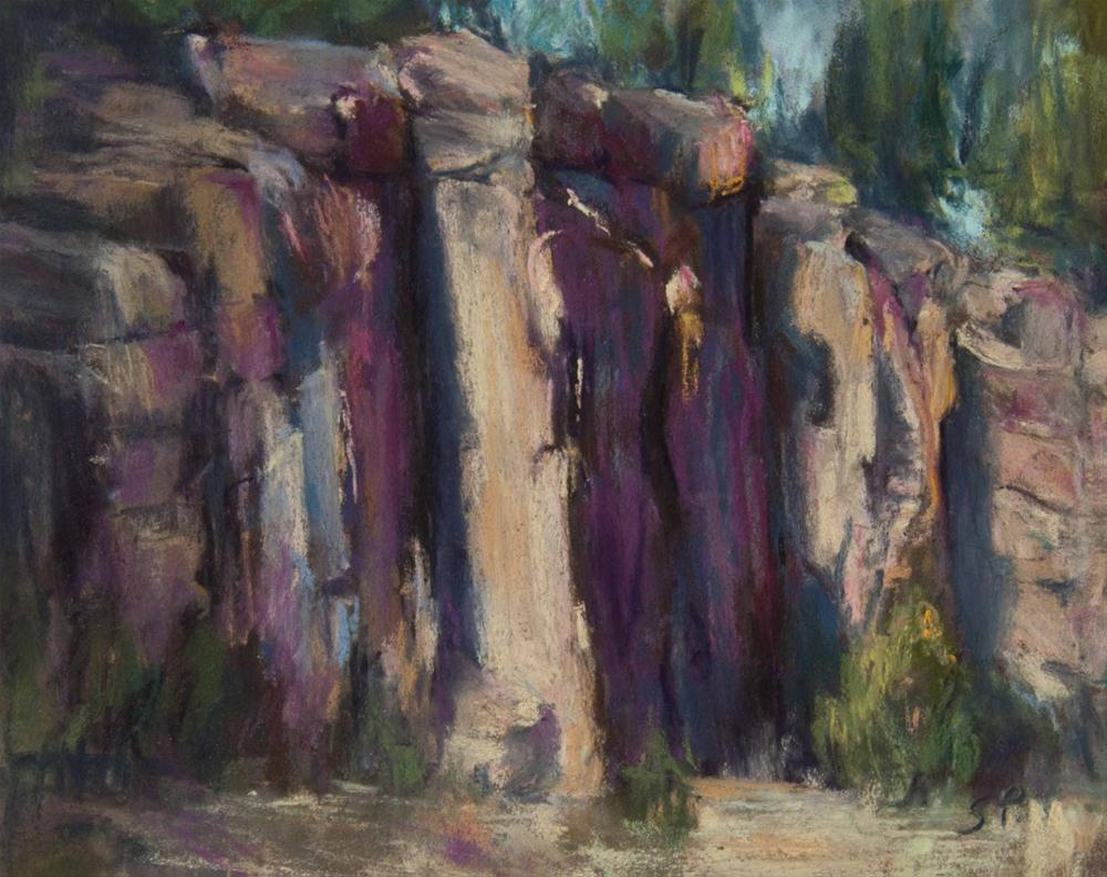 """Sunlit Rock Wall, Bend"" original fine art by Sarah Peroutka"