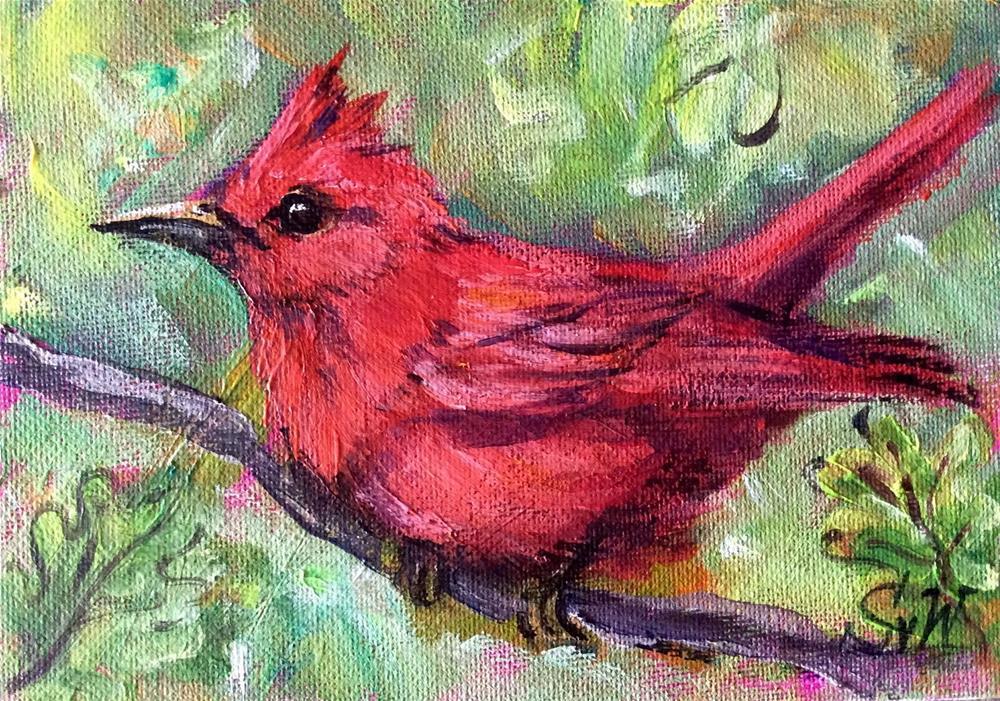 """""""Red bird"""" original fine art by Sonia von Walter"""