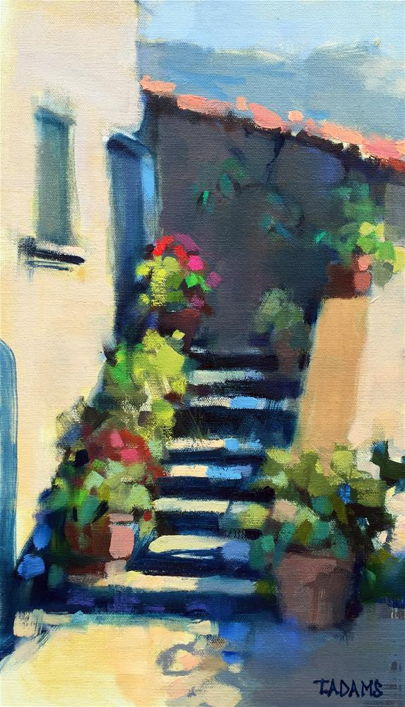"""Pots on the Steps"" original fine art by Trisha Adams"