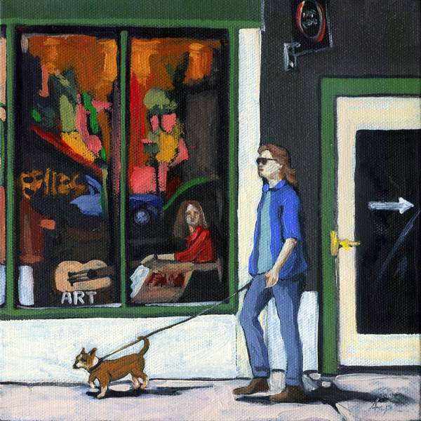 """Walking Tall - woman and dog city oil paintng by Linda Apple"" original fine art by Linda Apple"