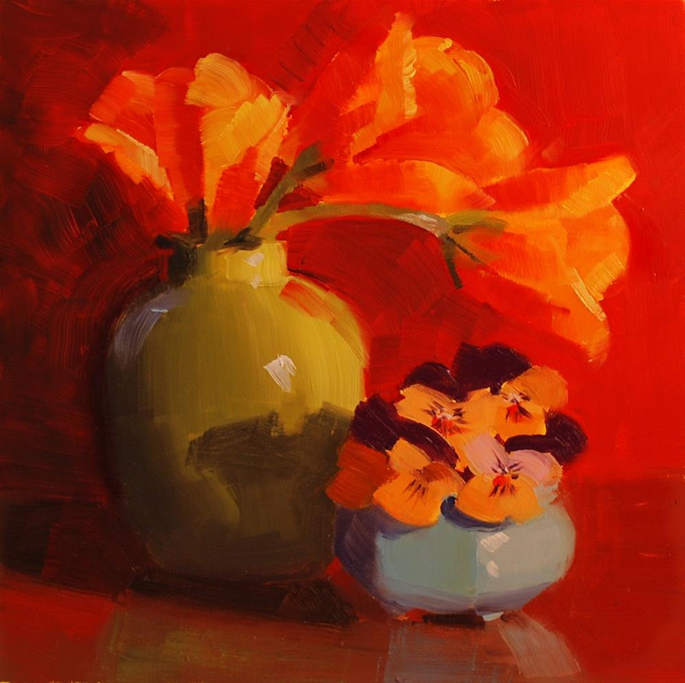 """Tulips and Pansies"" original fine art by Susan McManamen"