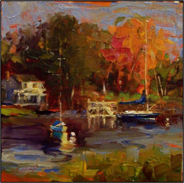 """Morning on the Kennebunk River, 8x8, oil on Ampersand board, Maine, boats, Kennebunkport, autumn i"" original fine art by Maryanne Jacobsen"
