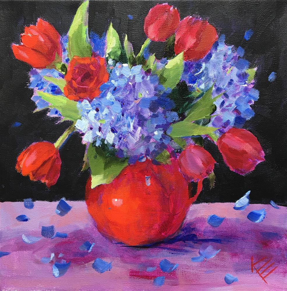 """Hydrangeas & Tulips"" original fine art by Krista Eaton"