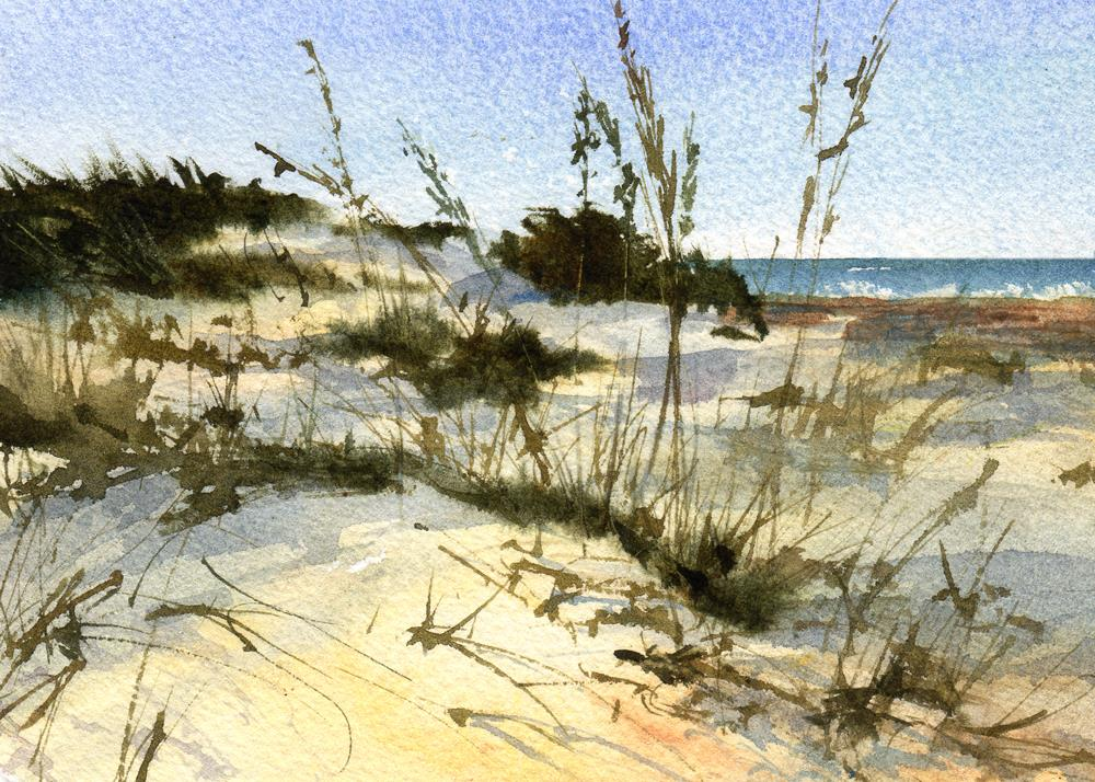 """Sun, Sand & Sea"" original fine art by Linda Henry"