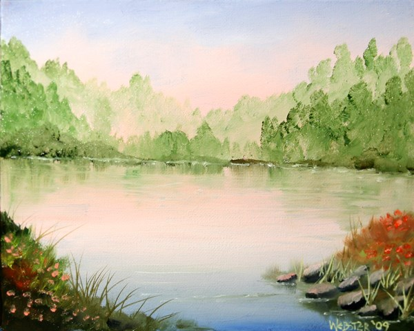 """Mark Adam Webster Artist - Misty Sunrise Foothill Lake Oil Painting"" original fine art by Mark Webster"