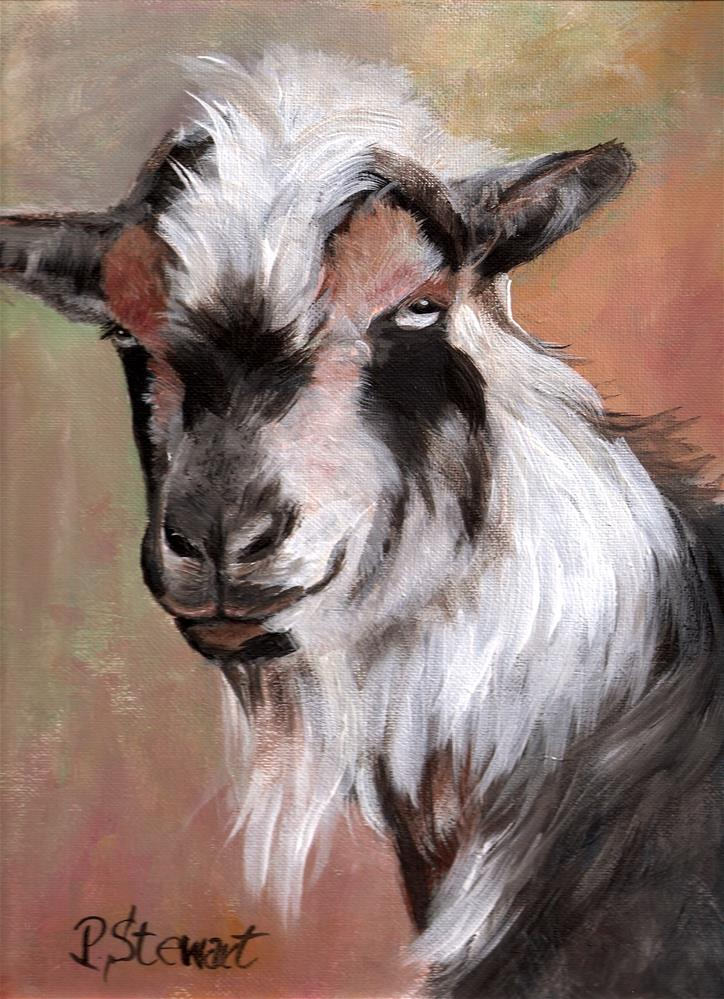 """Goat Painting, 9 x 12 on canvas board, Dr Dre New Moon Goat Farm Goatalympics"" original fine art by Penny Lee StewArt"