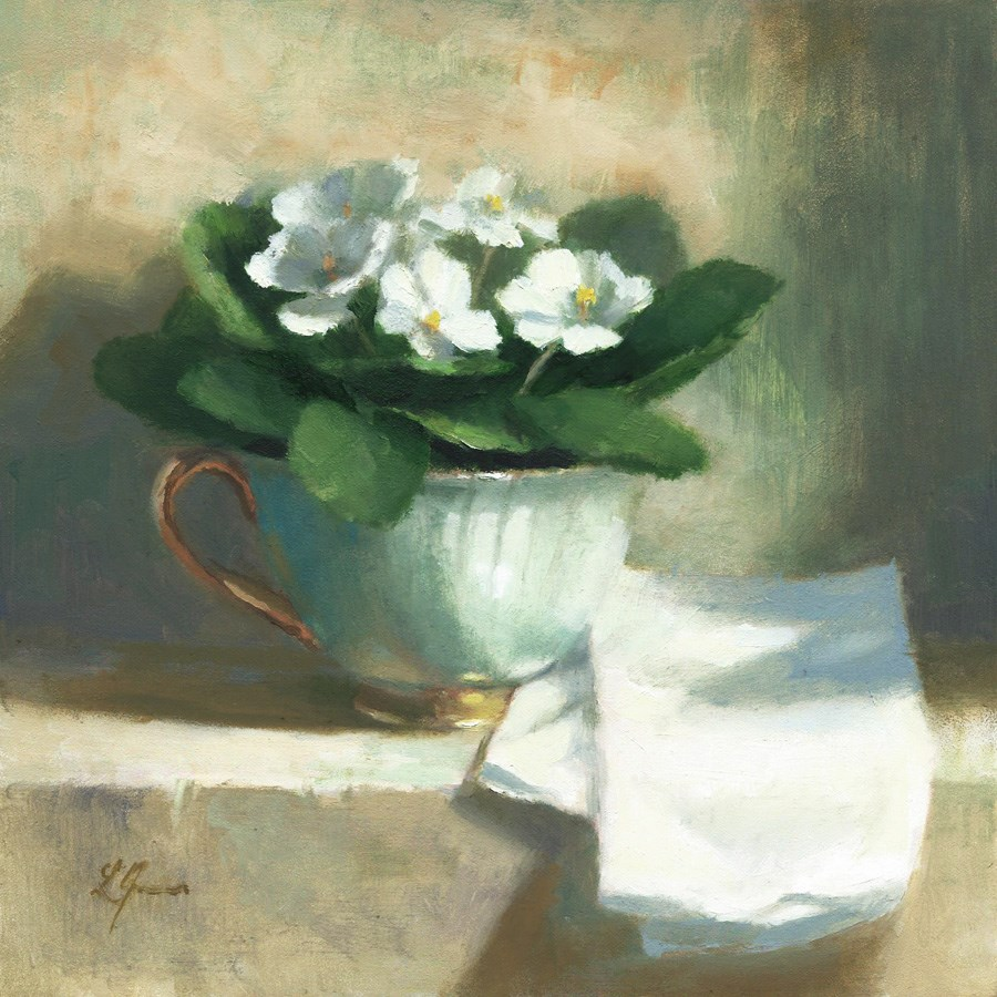 """White Violets/Teacup"" original fine art by Linda Jacobus"