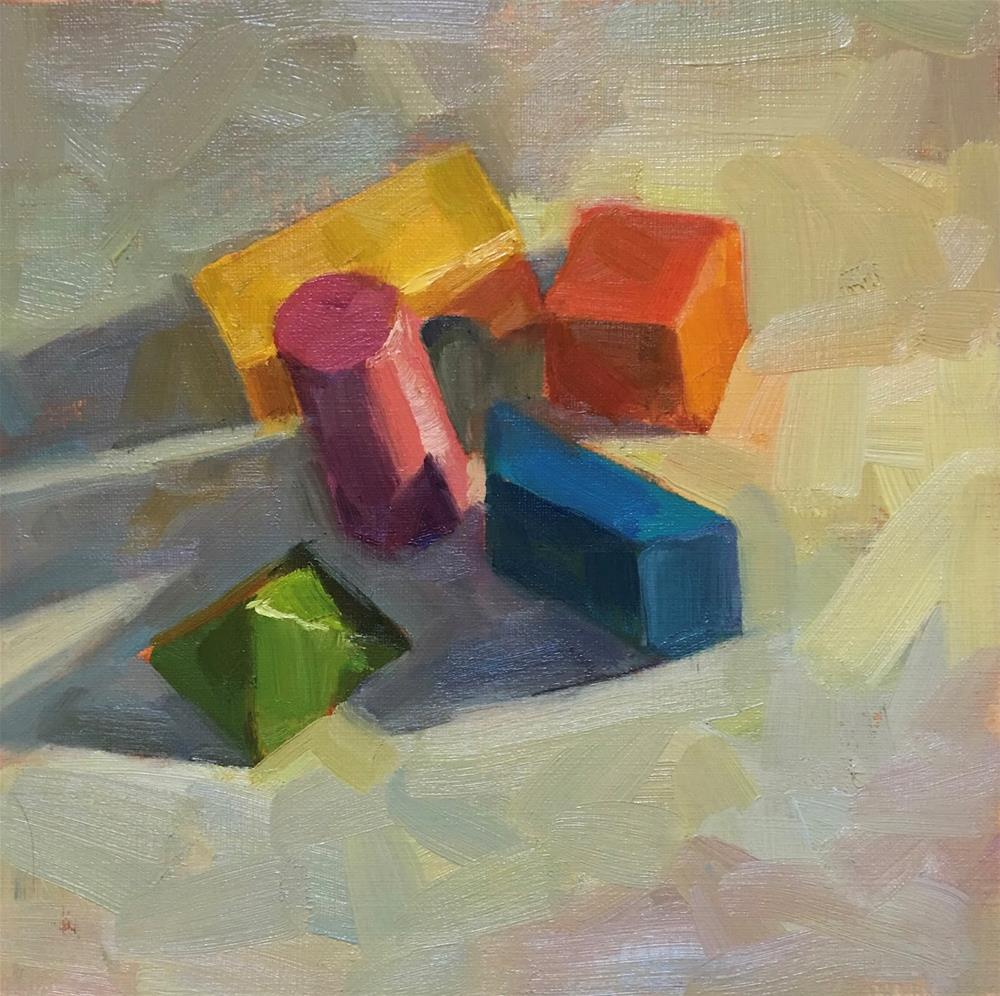 """Wooden Blocks #3"" original fine art by Katia Kyte"