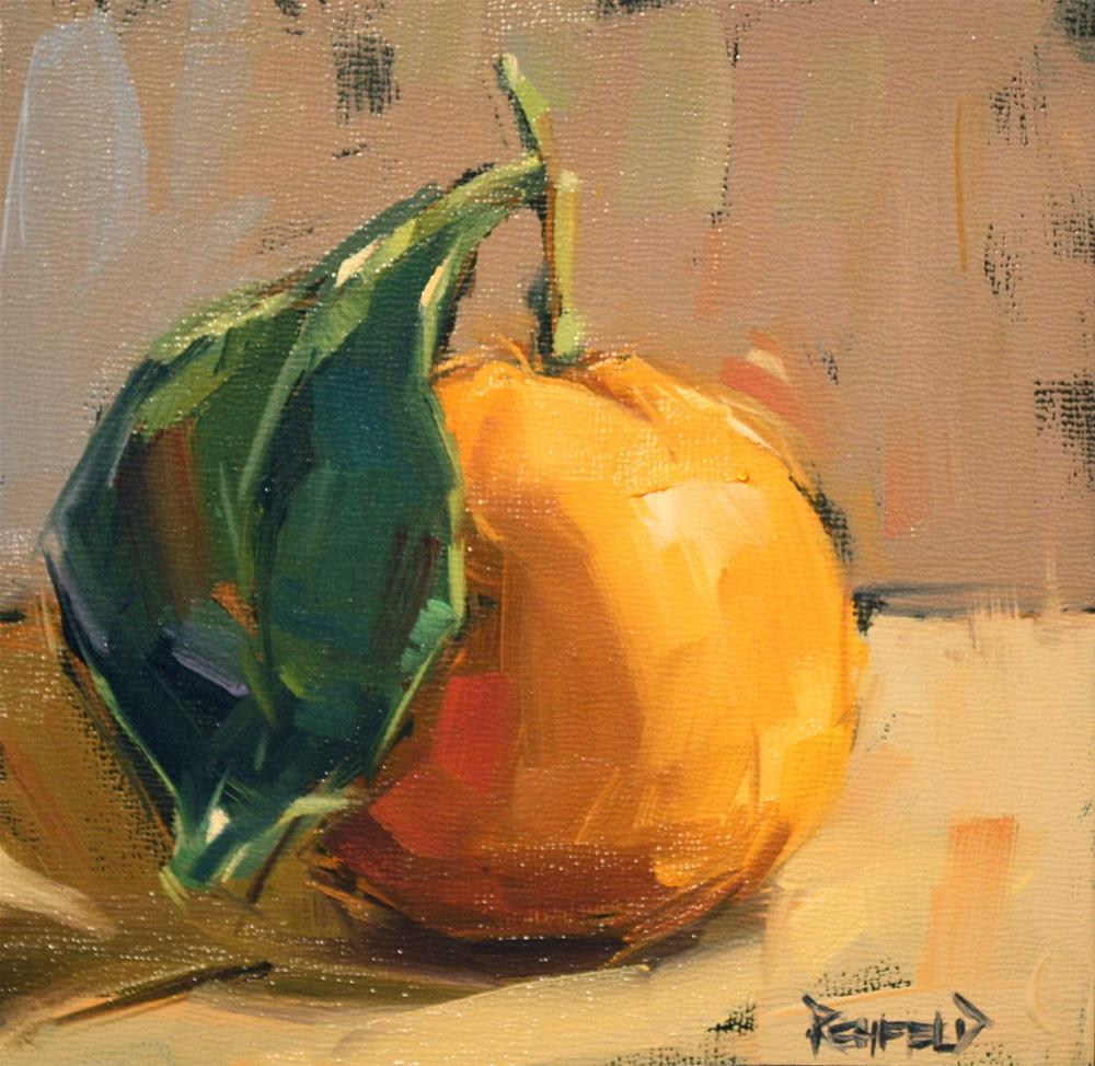 """Satsuma on Black Gesso"" original fine art by Cathleen Rehfeld"