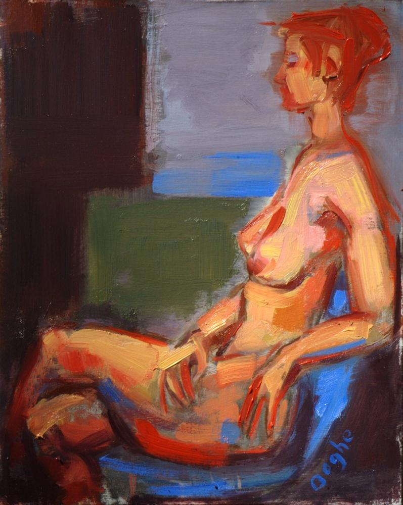 """Nude in Blue Chair"" original fine art by Angela Ooghe"