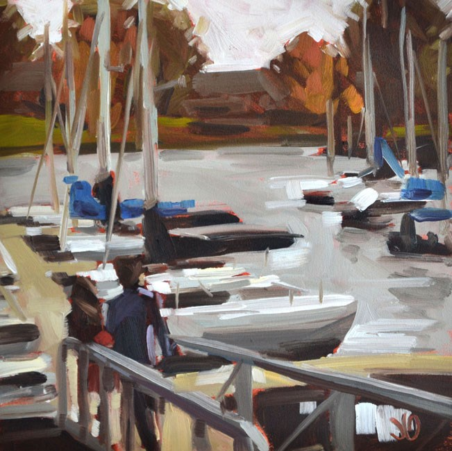 """Dock Walk at Geist"" original fine art by Jessica Green"
