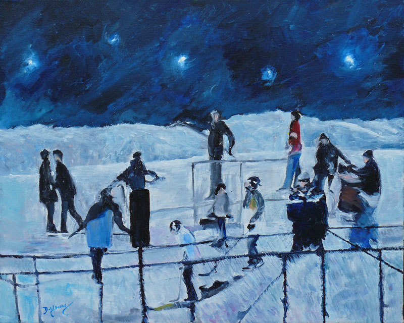 """Hockey Night All Stars"" original fine art by Darlene Young"