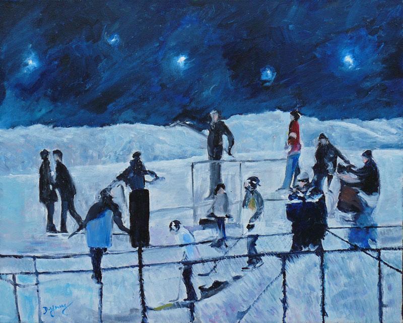 Hockey Night All Stars original fine art by Darlene Young