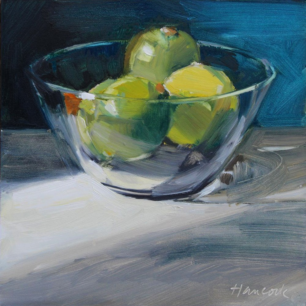 """Glass Bowl with Limes in Light and Shadow"" original fine art by Gretchen Hancock"