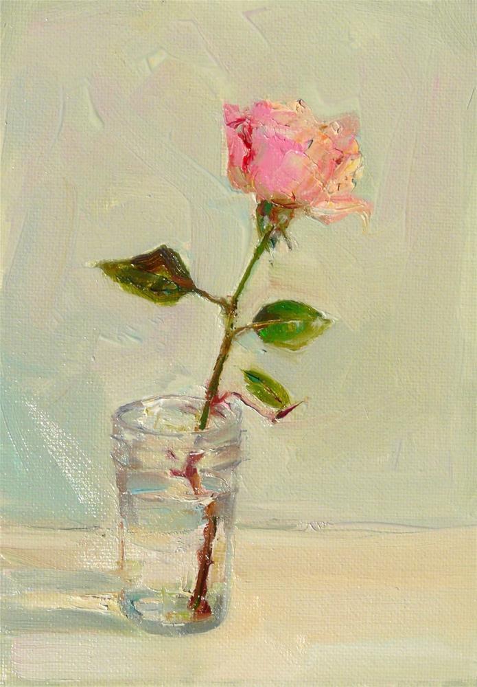 """Winter Rose,still life,oil on canvas,7x5,price$175"" original fine art by Joy Olney"