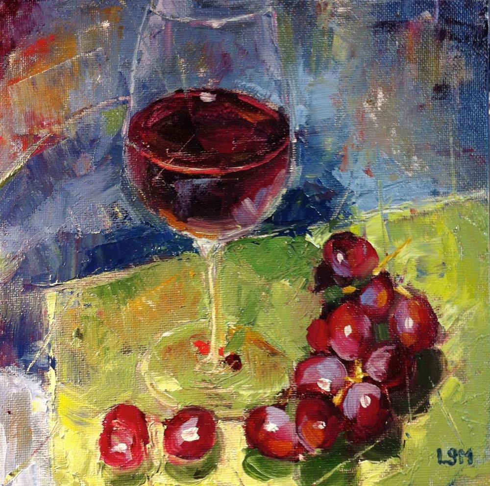 """Red Wine Red Grapes"" original fine art by Linda Marino"