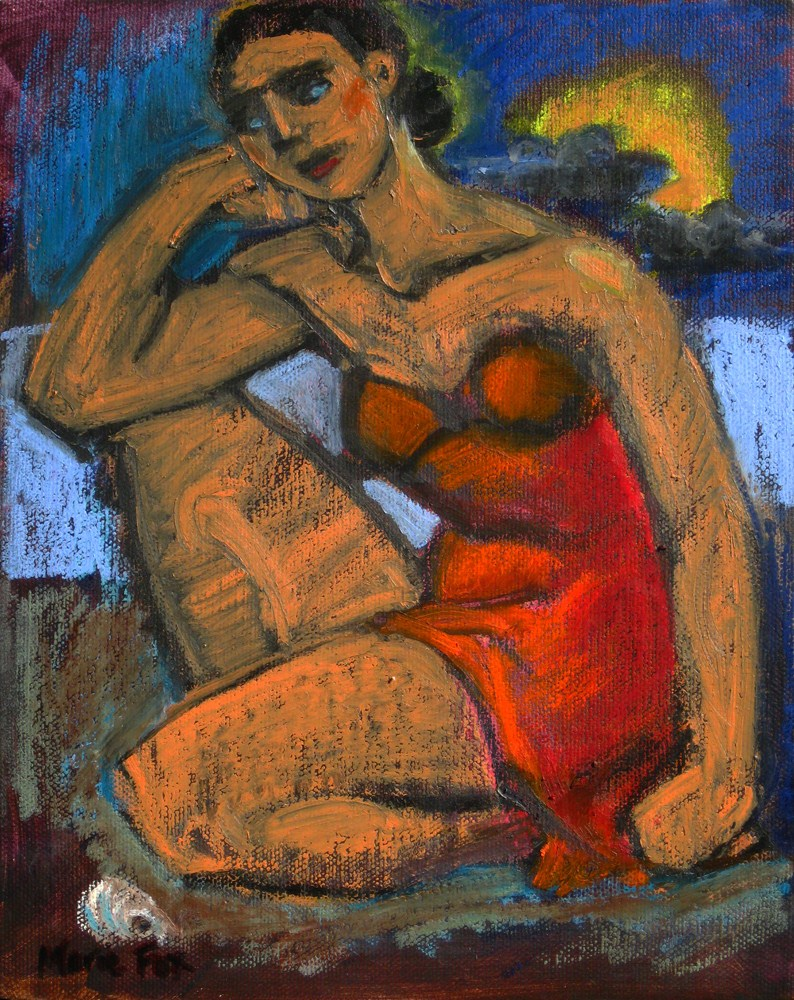 """The Shell, figurative oil painting, figuration, contemporary figure painter, woman, beach"" original fine art by Marie Fox"