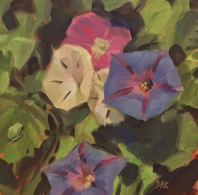 """Morning Glories And Friend"" original fine art by Deborah Ann Kirkeeide"