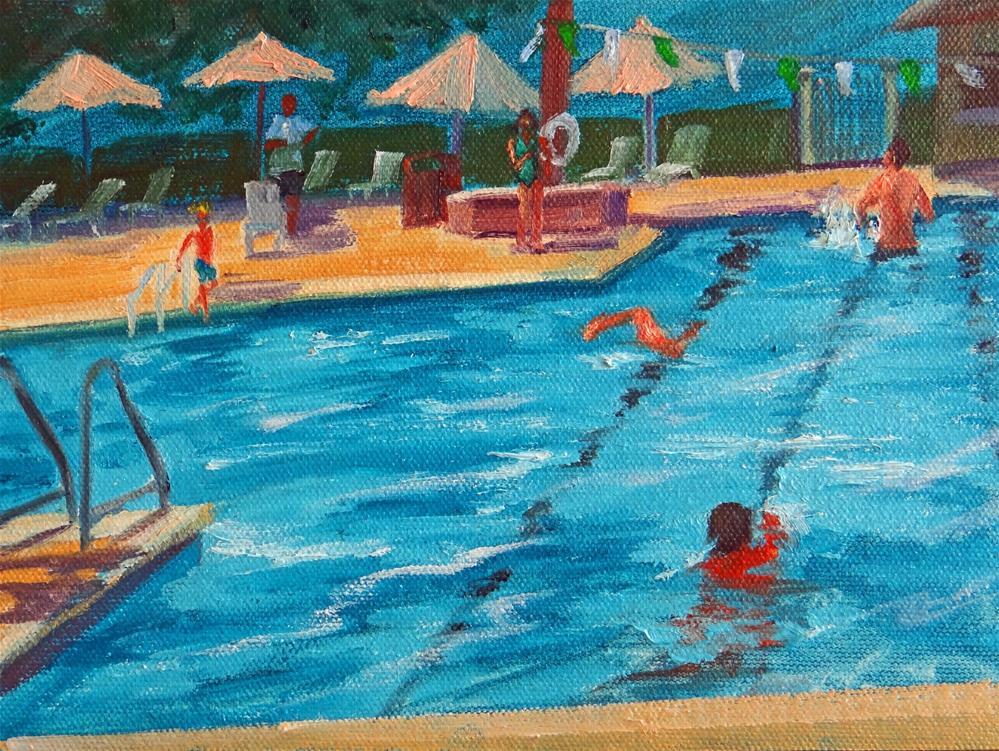 """Umbrellas by the Pool"" original fine art by Nancy Paris Pruden"