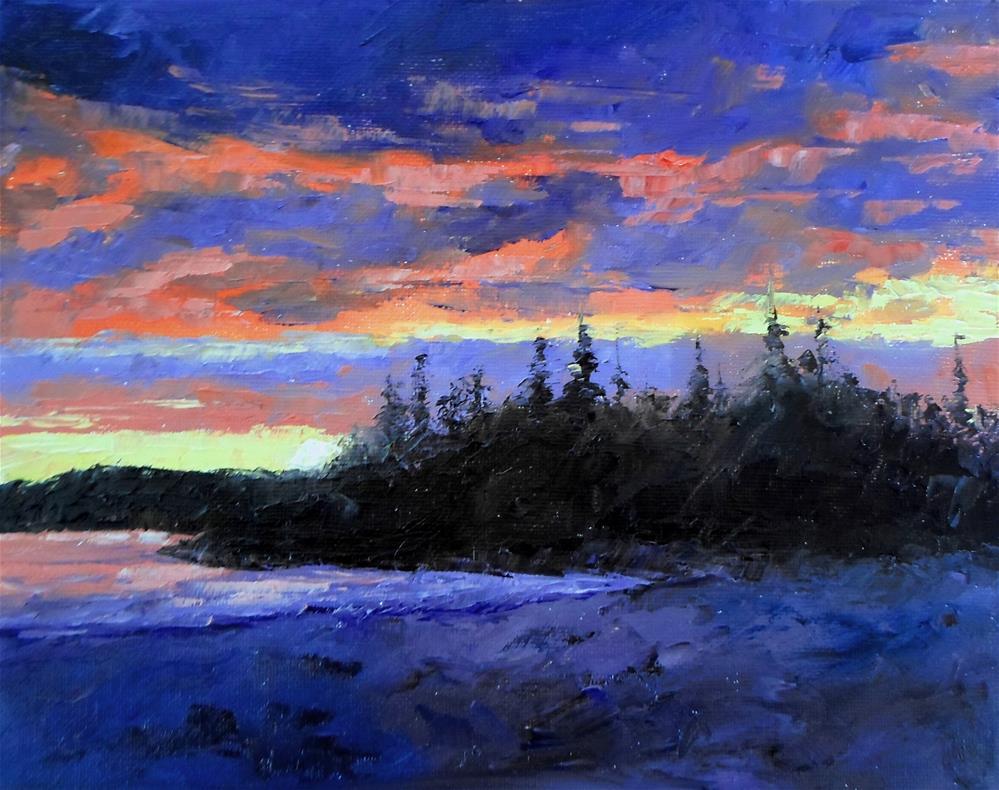 """8 x 10 inch oil Tofino Sunset"" original fine art by Linda Yurgensen"