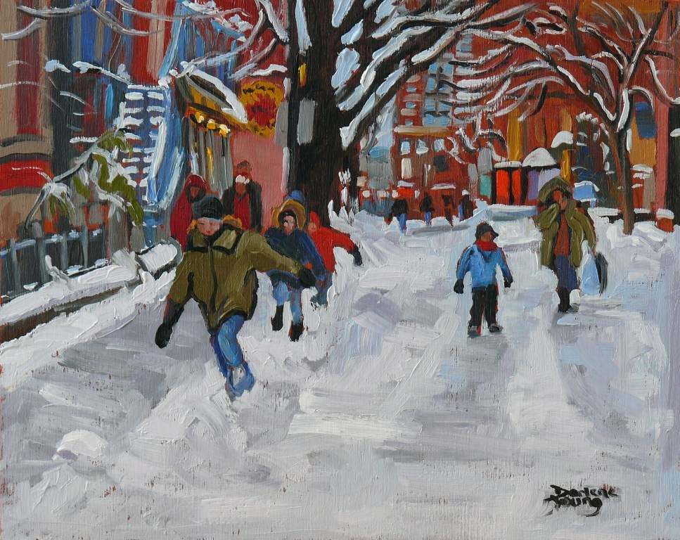 """588 Kids on the Plateau Mont-Royal"" original fine art by Darlene Young"