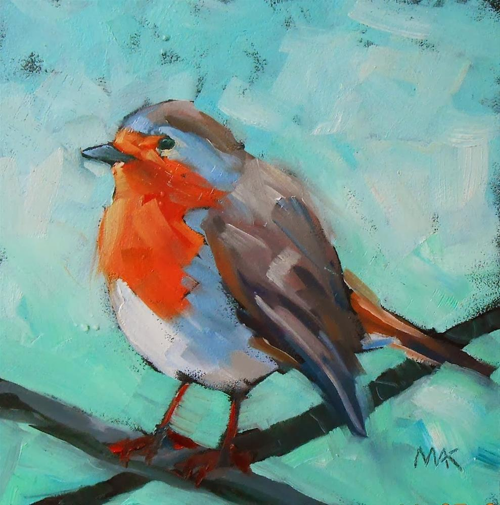 """Baby Robin"" original fine art by Mary Anne Cary"