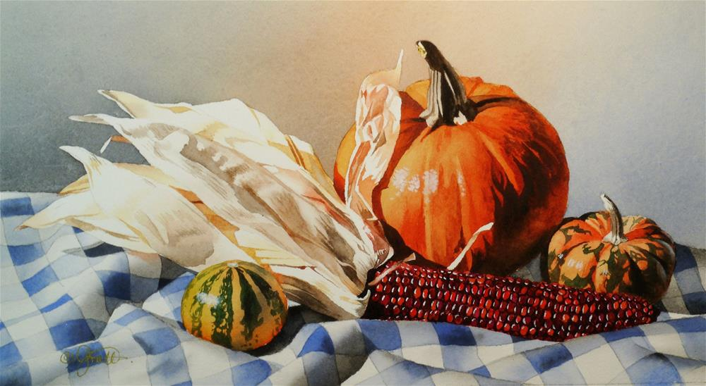 """Still Life with Indian Corn"" original fine art by Jacqueline Gnott, TWSA, WHS"